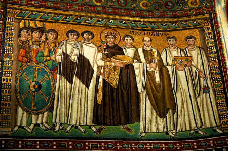 The Emperor Justinian depicted in the mosaics of San Vitale